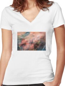 Colorful Auras...Grey Fences Women's Fitted V-Neck T-Shirt