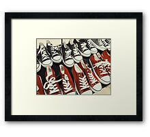 Classic Black And Red Sneakers Framed Print