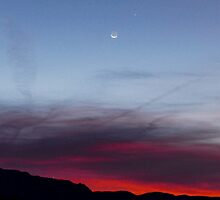 Crescent Moon and Jupiter by © Loree McComb