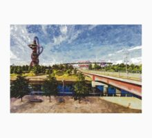 West Ham Olympic Stadium And The Arcelormittal Orbit Art One Piece - Short Sleeve