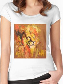 lion in fire Women's Fitted Scoop T-Shirt