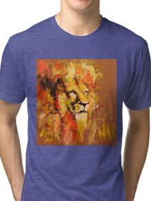 lion in fire Tri-blend T-Shirt