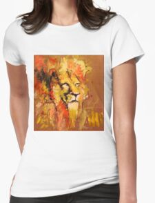 lion in fire Womens Fitted T-Shirt