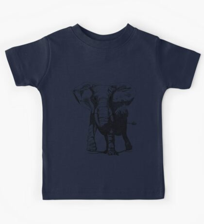 Elephant Pen and Ink Drawing Kids Tee