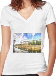 West Ham Olympic Stadium And The Arcelormittal Orbit Art Women's Fitted V-Neck T-Shirt