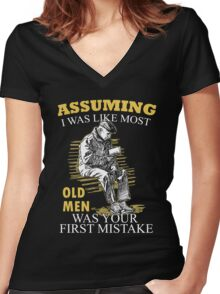 $filenam - Gift For Dad - I Was Like Most Old Man $filenam And Friend Women's Fitted V-Neck T-Shirt