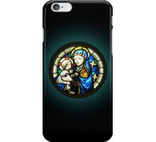 Madonna & Child stained glass window Circle iPhone Case/Skin