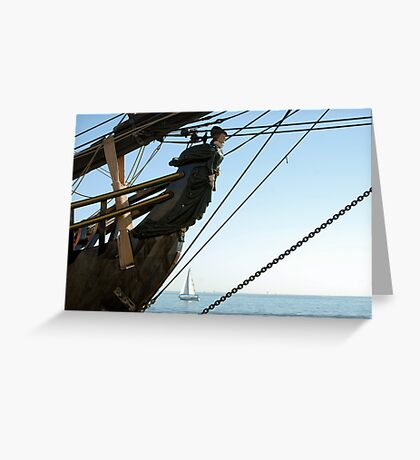 HMS Bounty figurehead with sailboat Greeting Card