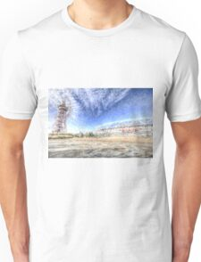 West Ham Olympic Stadium And The Arcelormittal Orbit Snow Unisex T-Shirt