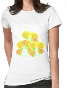 Yellow flowers Womens Fitted T-Shirt
