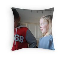 Let's make a funny face! Throw Pillow