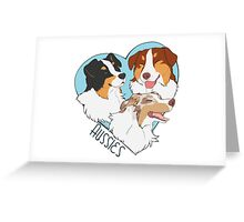-Heart- Aussies (Tris and Red merle) Greeting Card