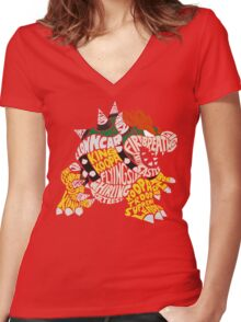 Bowser Typography Women's Fitted V-Neck T-Shirt