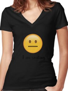 I am smiling Women's Fitted V-Neck T-Shirt