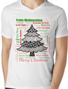 Worldwide Merry Christmas Mens V-Neck T-Shirt