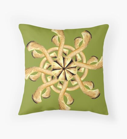 Clavicle Snowflake-Olive Throw Pillow