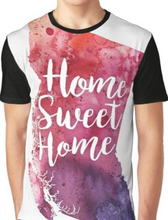 British Columbia Watercolor Map - Home Sweet Home Hand Lettering - Giclee Print of Original Art Graphic T-Shirt