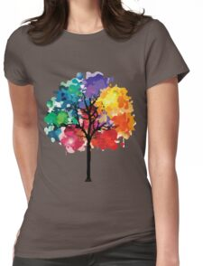 Rainbow Tree Womens Fitted T-Shirt