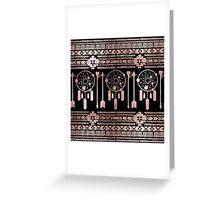 Dreamcatcher Rose Gold Tribal Aztec on Black Greeting Card