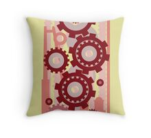Cog and Wheel Rouge Throw Pillow