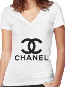 CHANEL Women's Fitted V-Neck T-Shirt