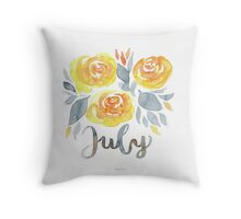 Juli Blumen Aquarell mit Handlettering Throw Pillow