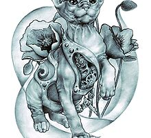 RISHAMA steampunk tattoo cat kitten biomechanics mechanics vintage by RISHAMA