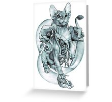 steampunk tattoo cat kitten biomechanics mechanics vintage Greeting Card
