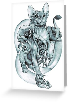 steampunk tattoo cat kitten biomechanics mechanics vintage by RISHAMA
