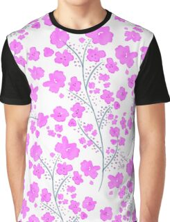 Pink Watercolor Flowers - Floral Pattern Graphic T-Shirt
