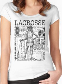 Word Montage-LACROSSE (Female-Border) Women's Fitted Scoop T-Shirt