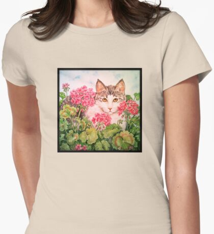 Baby Blossom Kitten Womens Fitted T-Shirt