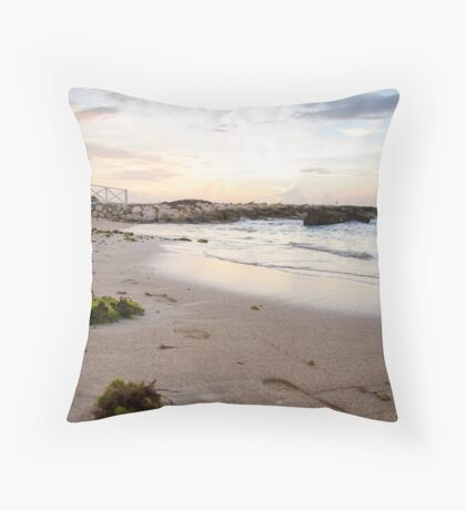 Footprints and Sunset in Jamaica Throw Pillow