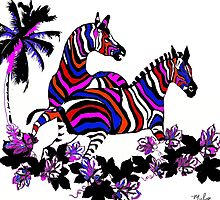 Rainbow Zebras At Play by Saundra Myles