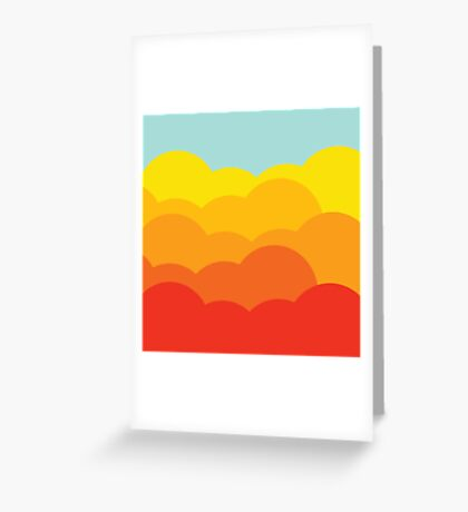 Colorful clouds and sky retro style Greeting Card