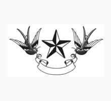 Swallows and Star tattoo flash One Piece - Short Sleeve