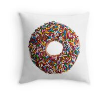 Chocolate Sprinkle Donut Throw Pillow
