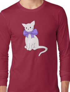 Cat with Purple Bow Long Sleeve T-Shirt