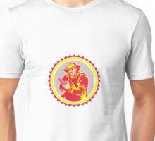 Fireman Firefighter Aiming Fire Hose Rosette Unisex T-Shirt