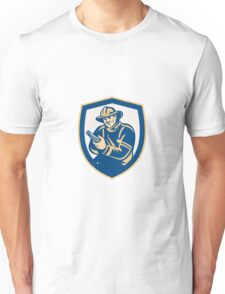 Fireman Firefighter Aiming Fire Hose Shield Retro Unisex T-Shirt