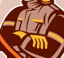 Fireman Firefighter Folding Arms Shield Retro Sticker