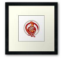 Fireman Firefighter Standing Folding Arms Circle Framed Print