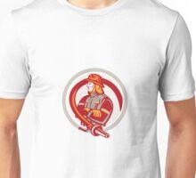 Fireman Firefighter Standing Folding Arms Circle Unisex T-Shirt