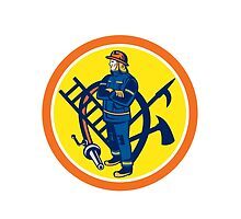 Fireman Firefighter Fire Hose Ladder Circle by patrimonio