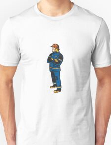 Fireman Firefighter Folding Arms Retro T-Shirt