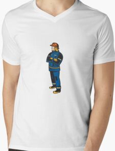Fireman Firefighter Folding Arms Retro Mens V-Neck T-Shirt