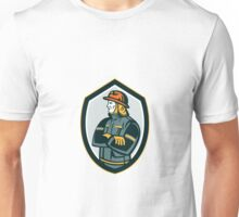 Fireman Firefighter Arms Folded Shield Retro Unisex T-Shirt