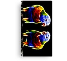 Neon parakeet pair Canvas Print
