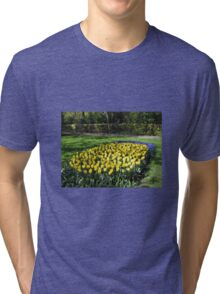 Bed of Yellow Tulips in the Keukenhof Gardens Tri-blend T-Shirt