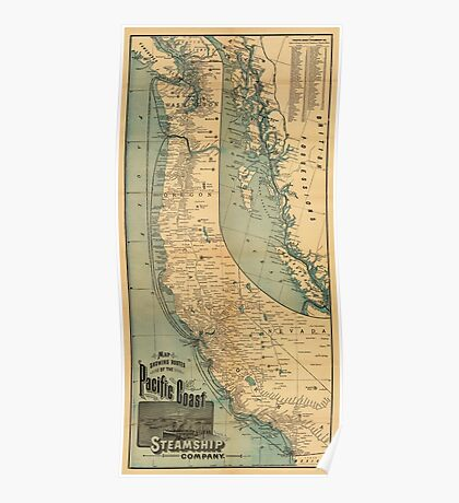 Steamship Route Map 1896 Poster